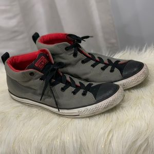 Converse grey sneakers with red trim size 12